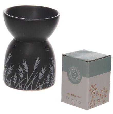Aromalampa svart med grässtrån i keramik
